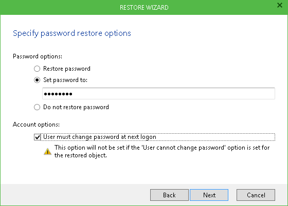 Specify Password Restore Options
