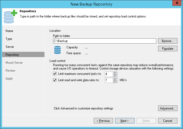 Limiting Combined Rate for Backup Repositories