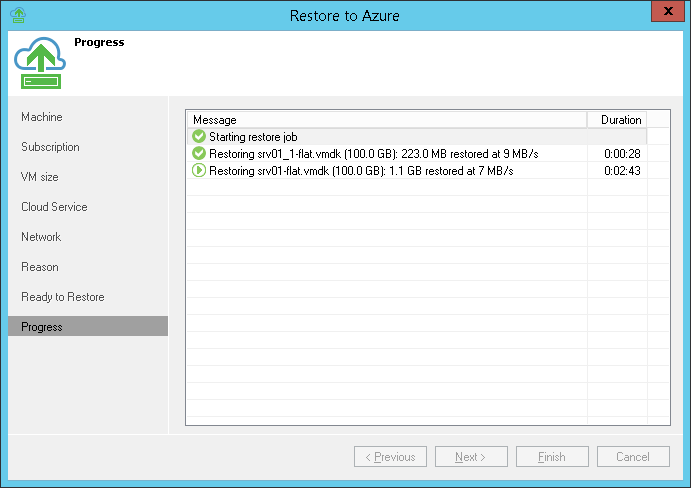 Step 9. Review Restore Process