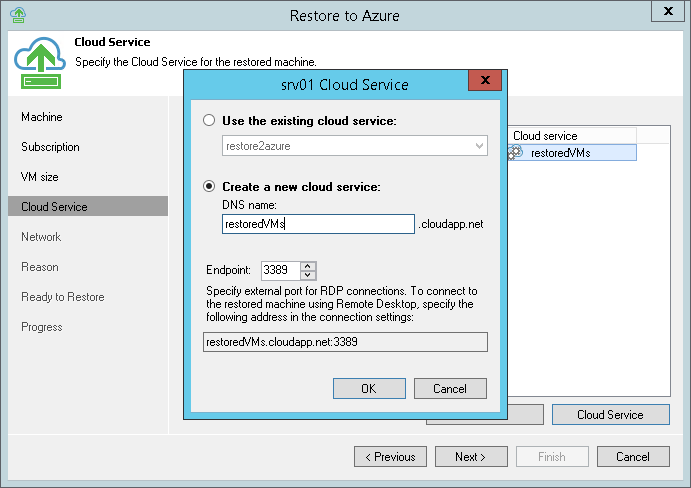 Step 5. Specify VM Name and Cloud Service