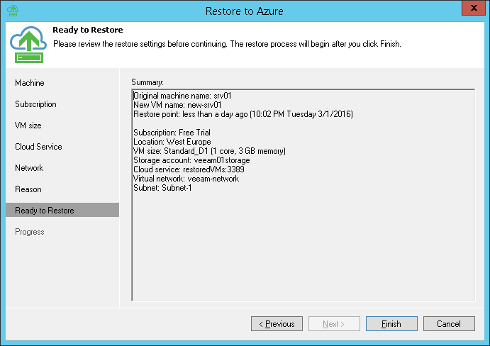 Step 8. Review Restore Summary
