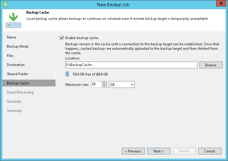 Step 8 Specify Backup Cache Settings Veeam Agent For