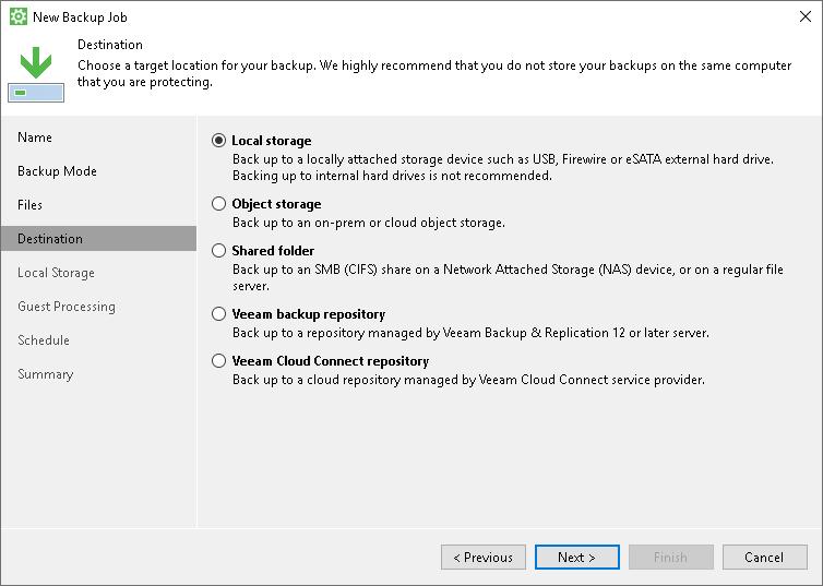 Step 5  Select Backup Destination - Veeam Agent for Microsoft