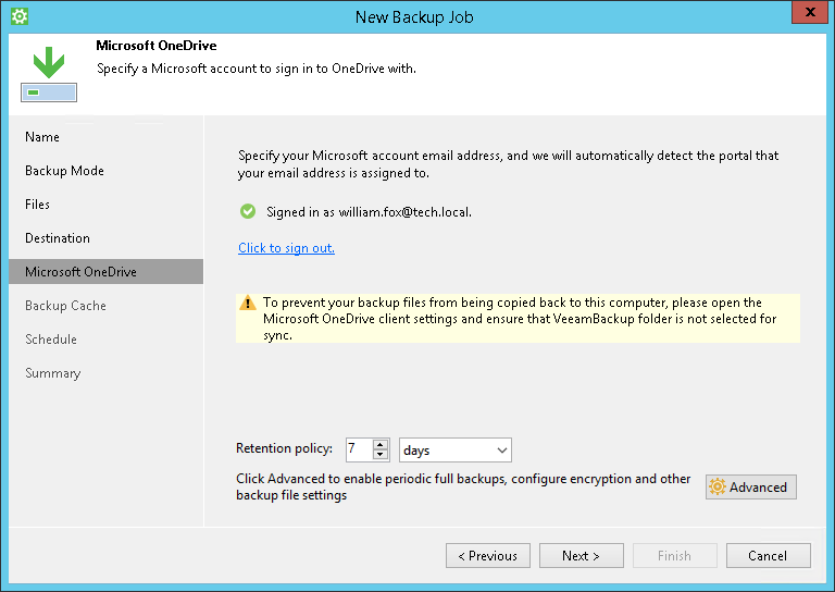 Microsoft OneDrive Settings - Veeam Agent for Microsoft