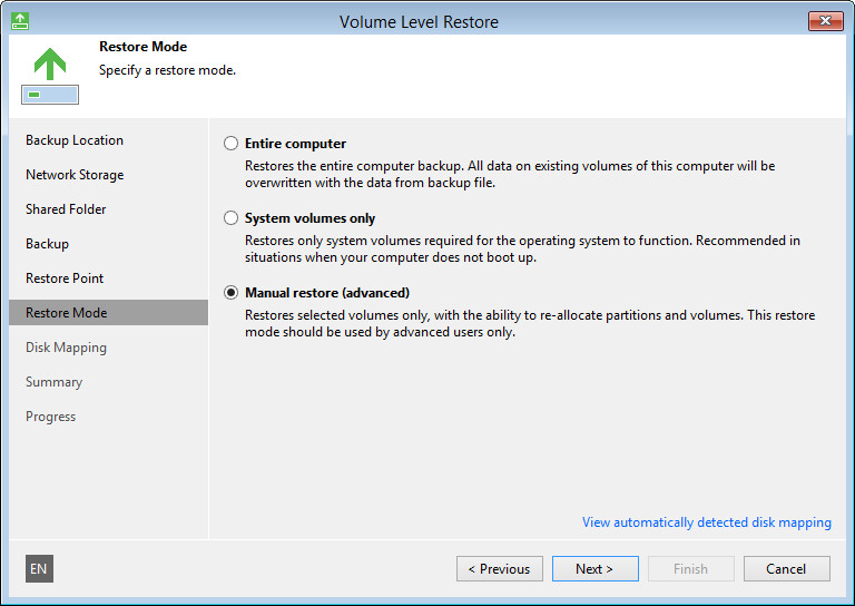 Step 9. Select Data Restore Mode