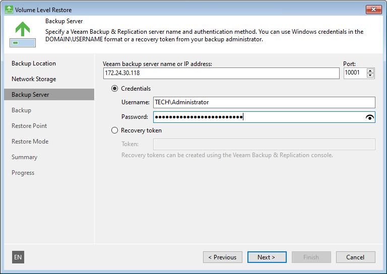 Backup Server Settings