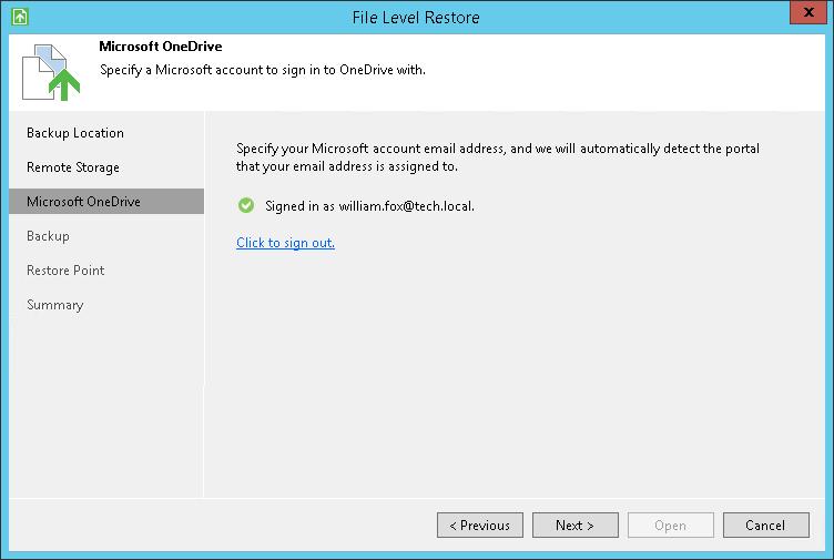 Microsoft OneDrive Settings - Veeam Agent for Microsoft