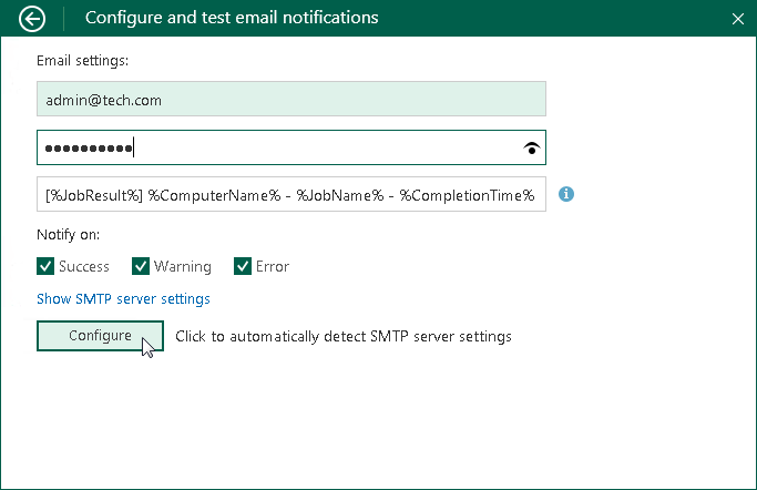 Enabling Email Notifications - Veeam Agent for Microsoft Windows Guide