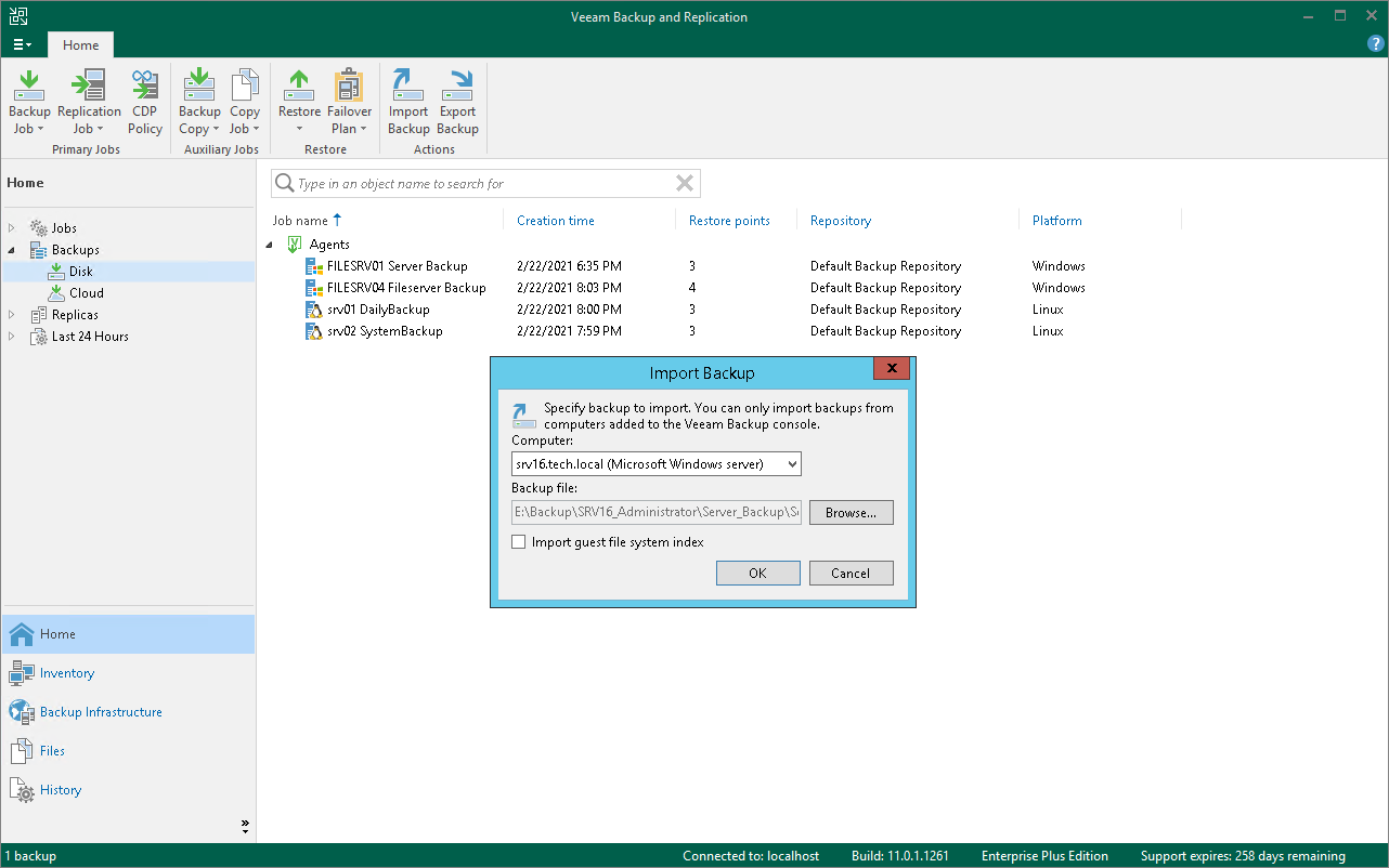 Importing Veeam Agent Backups - Veeam Agent for Microsoft