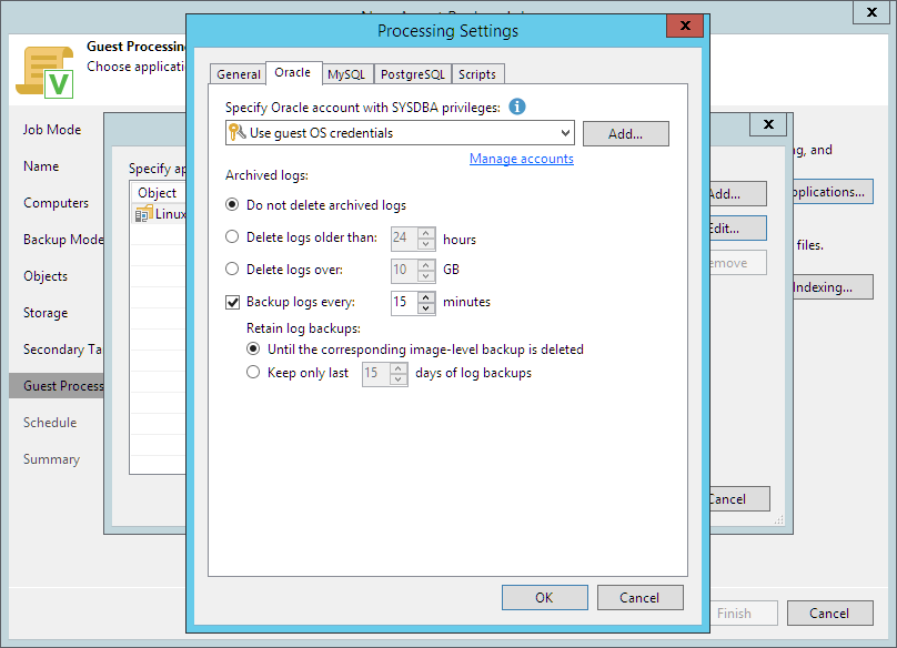 Oracle Archived Log Settings - Veeam Agent Management Guide