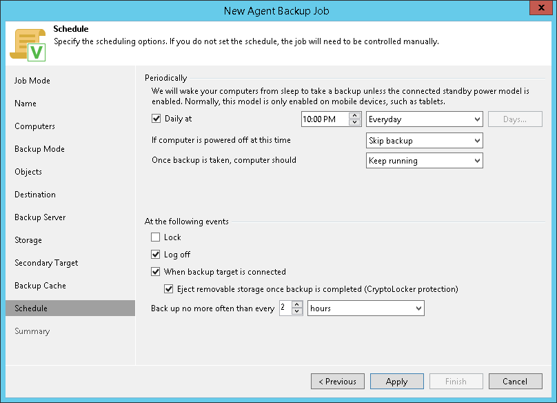 Scheduling Settings for Workstations - Veeam Agent