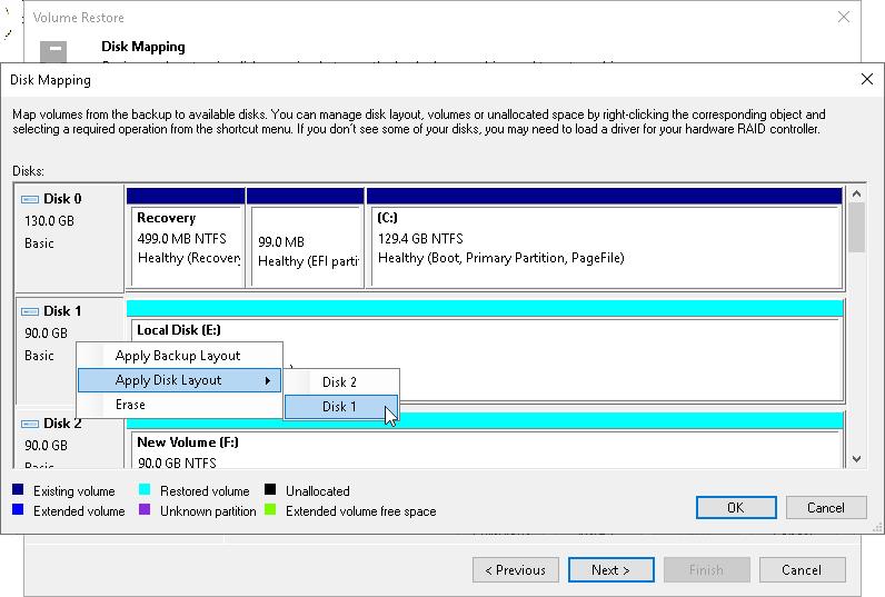 Step 4. Map Restored Disks - Veeam Agent Management Guide Disk Map on