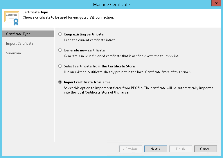 Importing Certificates From Pfx Files Veeam Agent Management Guide