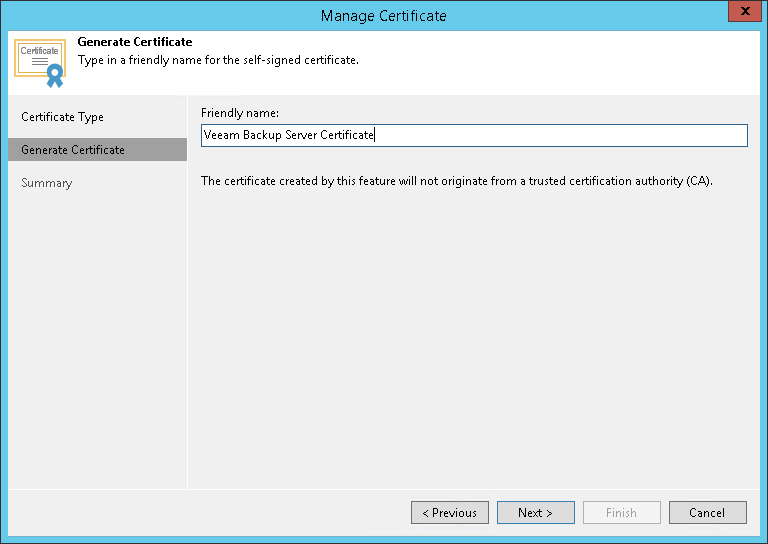 Generating Self-Signed Certificates - Veeam Agent Management Guide