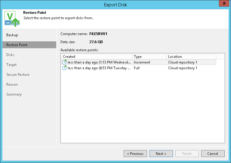 Exporting Disks from Veeam Agent Backups - Veeam Cloud