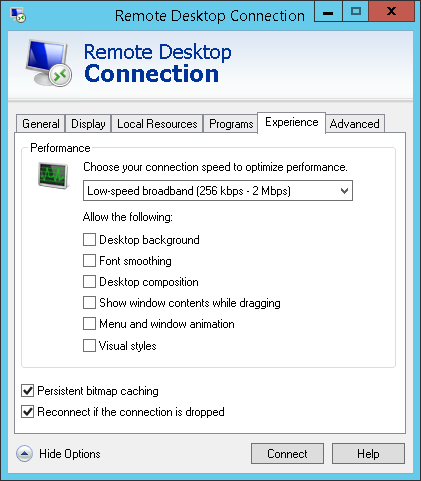 adjusting remote desktop connection settings