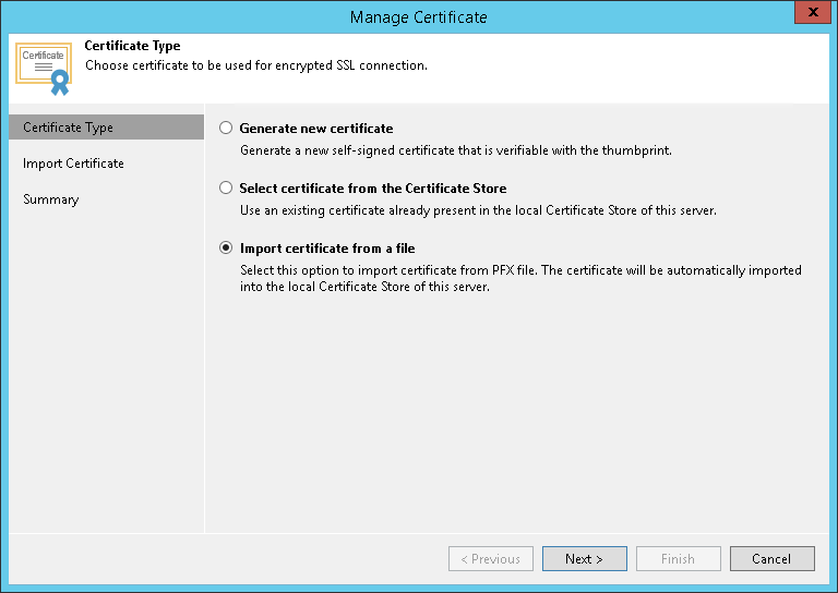 Importing Certificates from PFX Files - Veeam Cloud Connect Guide