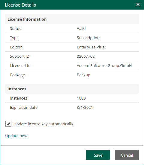 Viewing and Changing Current License - Veeam Backup Enterprise