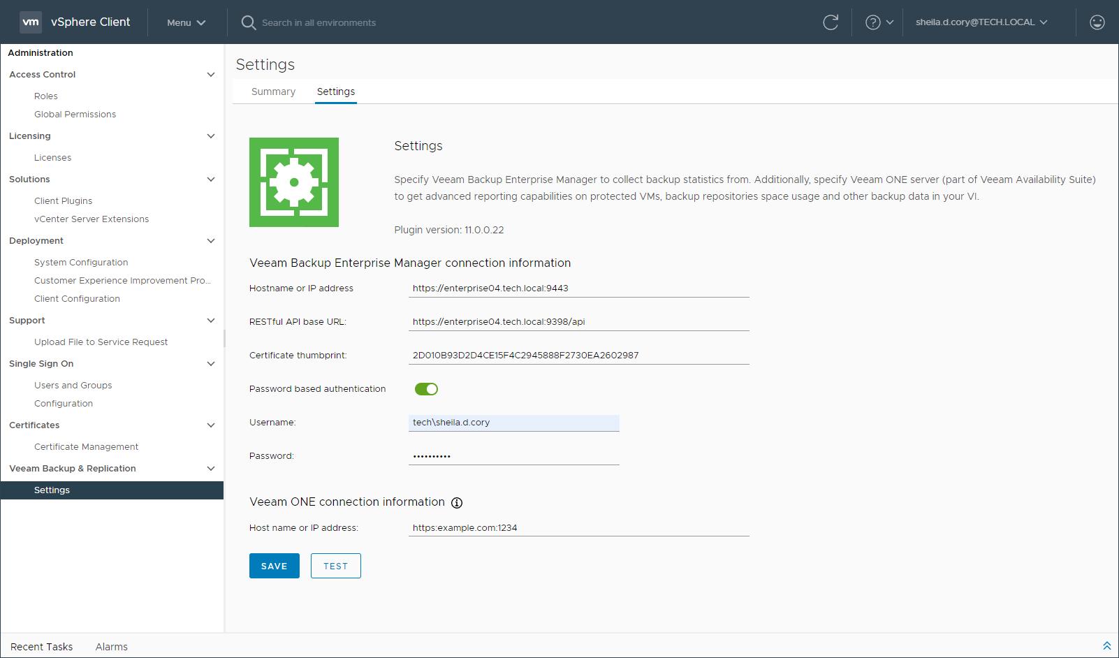 Configuring Plug-in Settings - Veeam Backup Enterprise