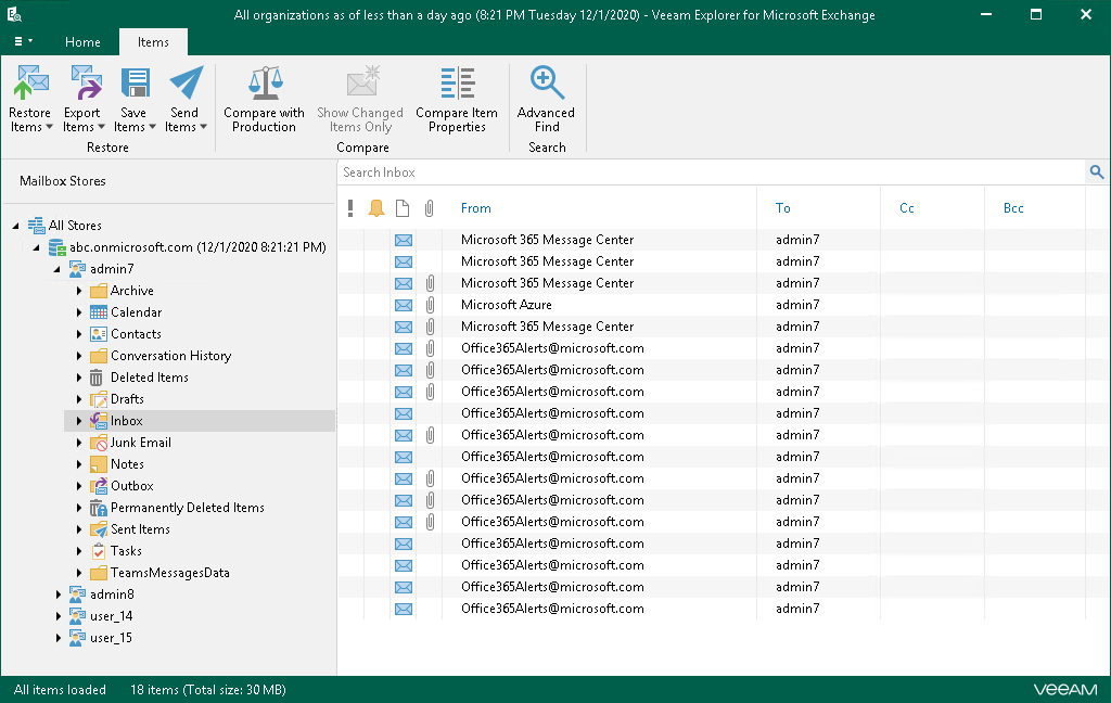 Browsing, Searching and Viewing Items - Veeam Backup