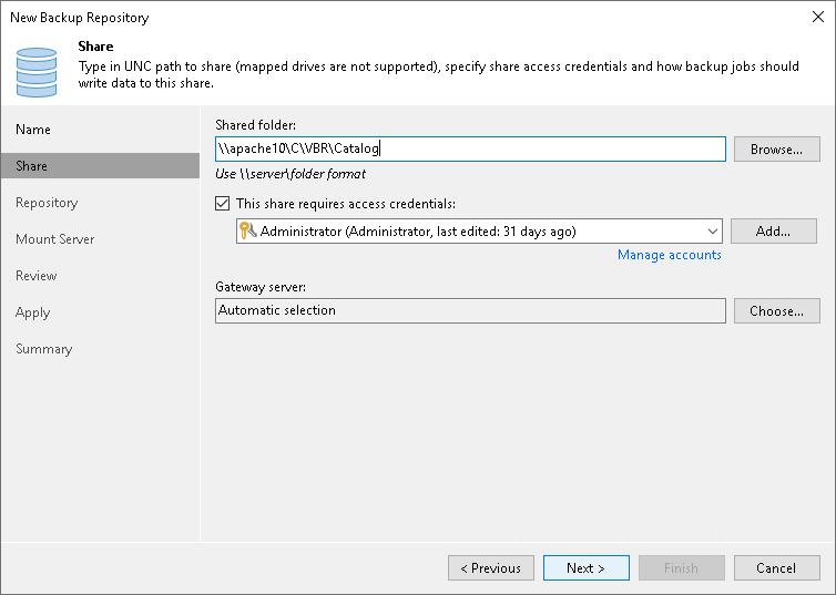 Step 3  Specify Server or Shared Folder Settings - Veeam