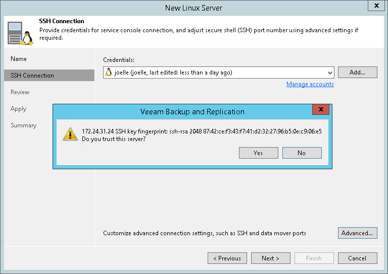 Step 3  Specify Credentials and SSH Settings - Veeam Backup