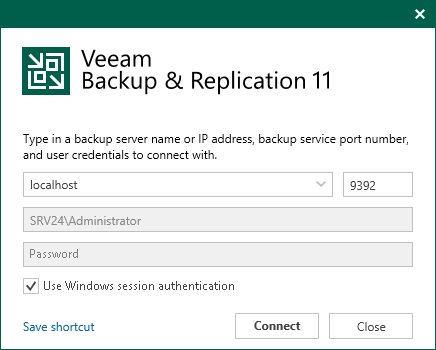 Logging on to Veeam Backup & Replication - Veeam Backup