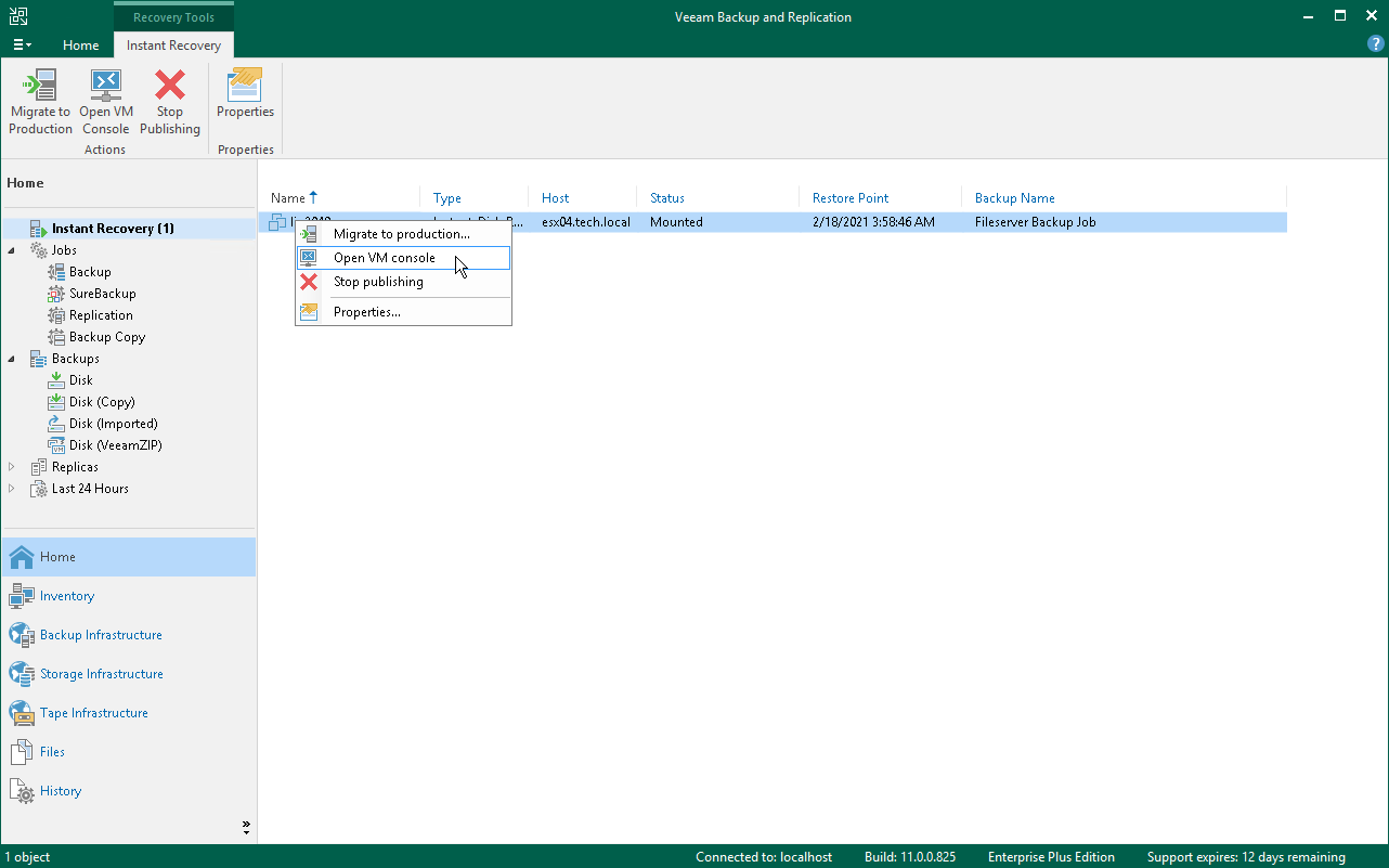 Step 12  Finalize Instant VM Recovery - Veeam Backup Guide