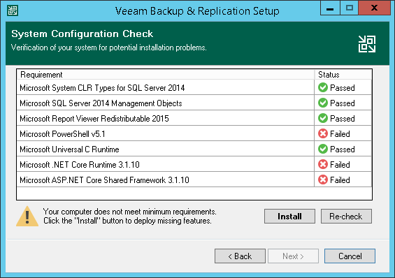 Step 5  Install Missing Software - Veeam Backup Guide for