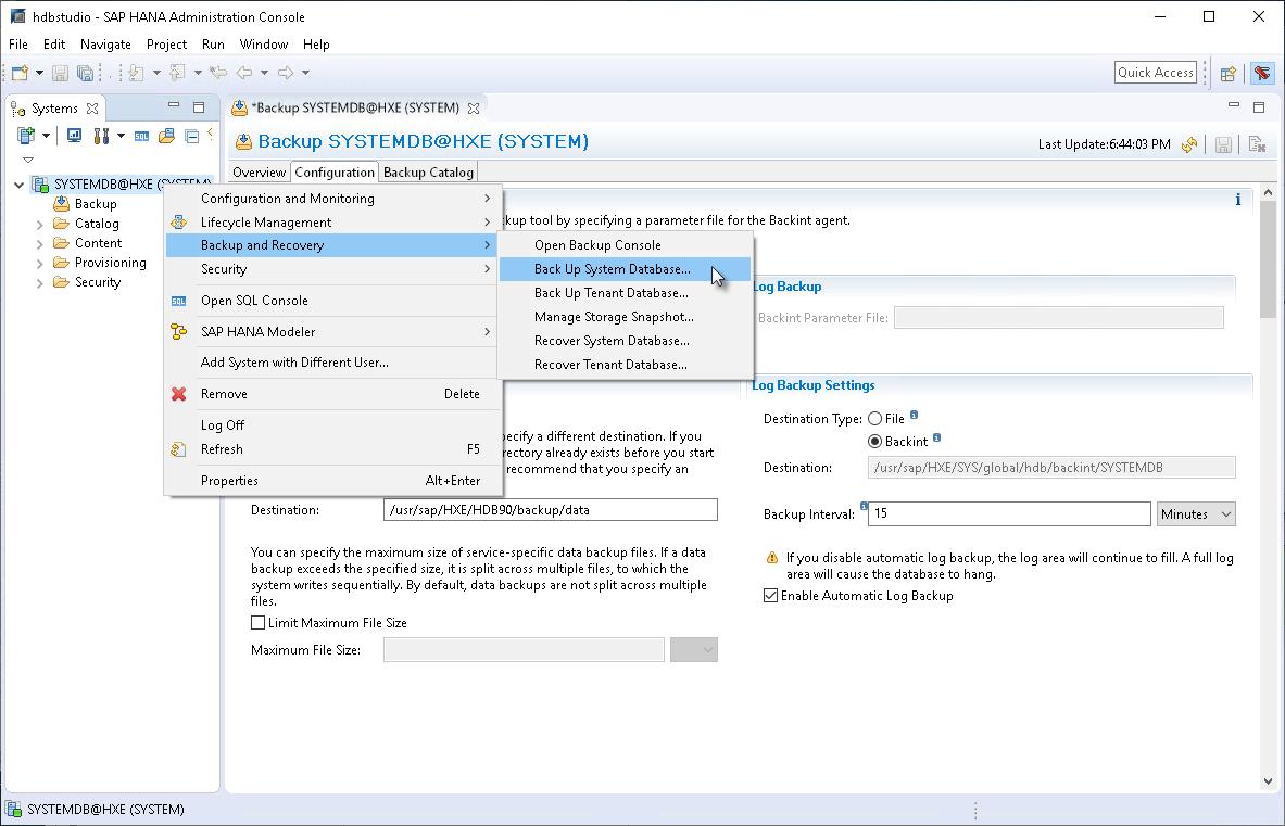 Backing Up Databases with SAP HANA Studio - Veeam Plug-ins for