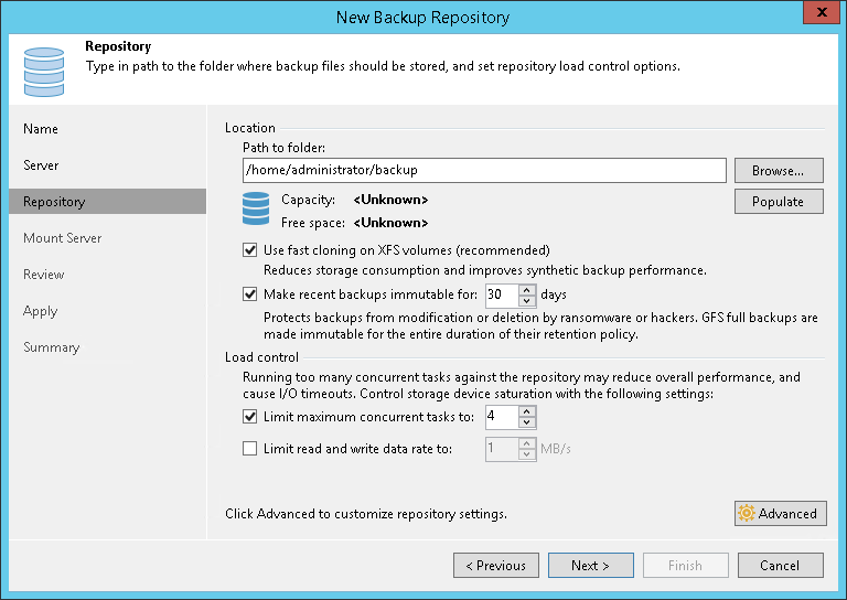 Step 4. Configure Backup Repository Settings