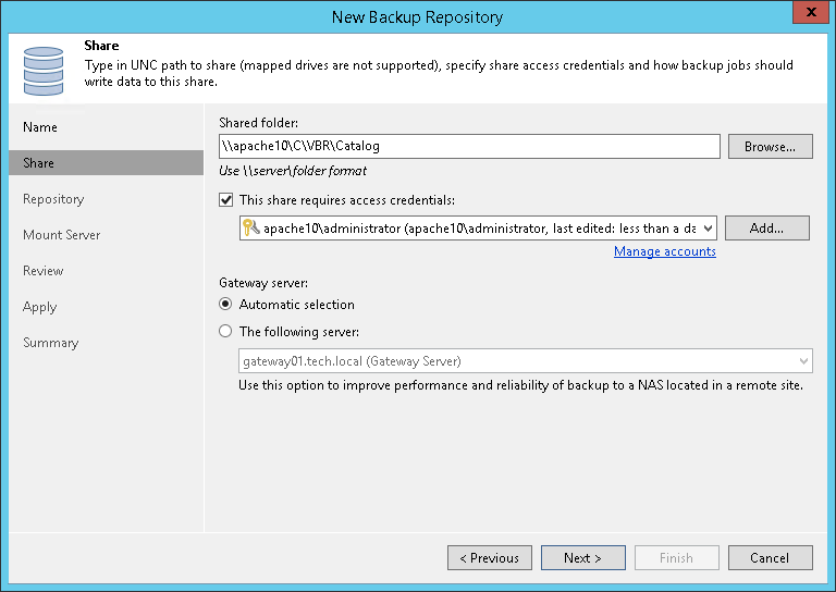 Step 3  Specify Server or Shared Folder Settings - Veeam