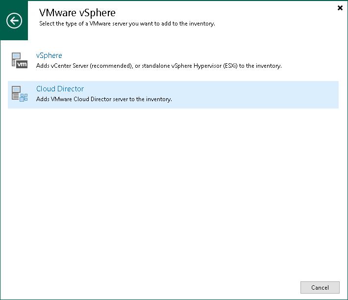 Step 1  Launch New VMware vCloud Director Server Wizard - Veeam