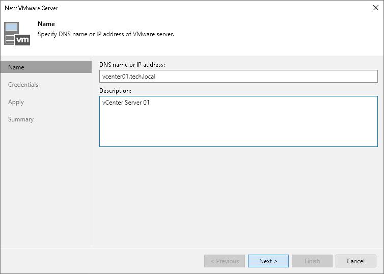 Step 2  Specify Server Name or Address - Veeam Backup Guide