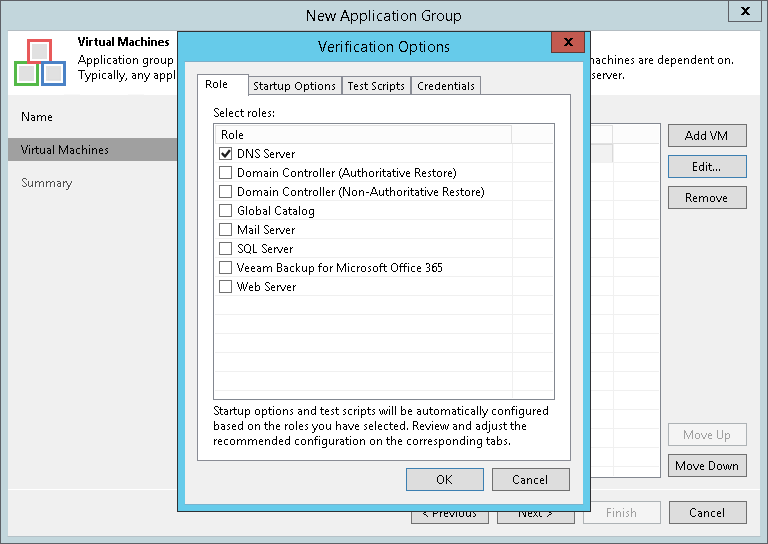 Step 4  Specify Recovery Verification Options and Tests