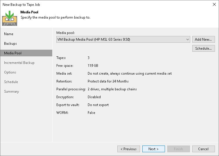 Step 4  Choose Media Pool for Full Backups - Veeam Backup