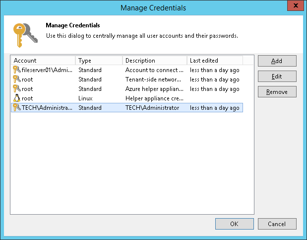 Editing and Deleting Credentials Records - Veeam Backup