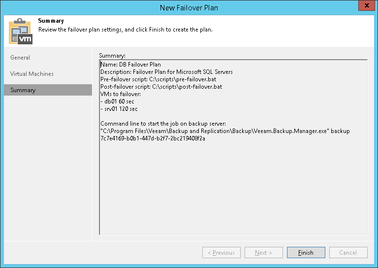 step 6 review summary and finish working with wizard veeam