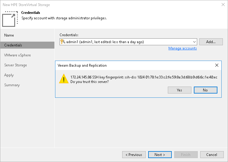 Step 3  Specify Credentials - Veeam Backup Guide for vSphere