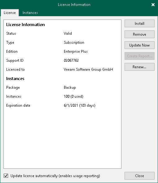 Updating License Automatically - Veeam Backup Guide for vSphere