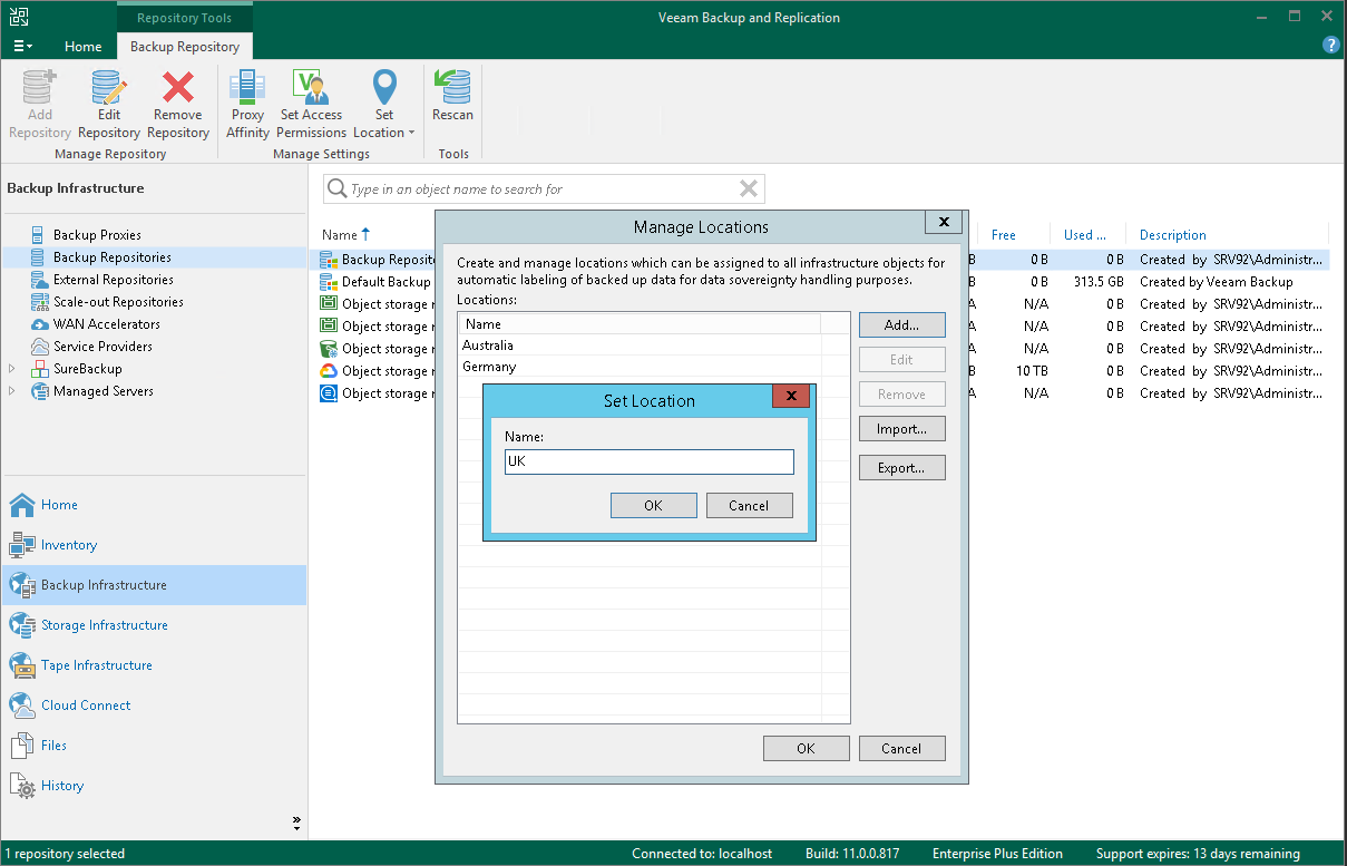 Creating and Assigning Locations to Infrastructure Objects - Veeam