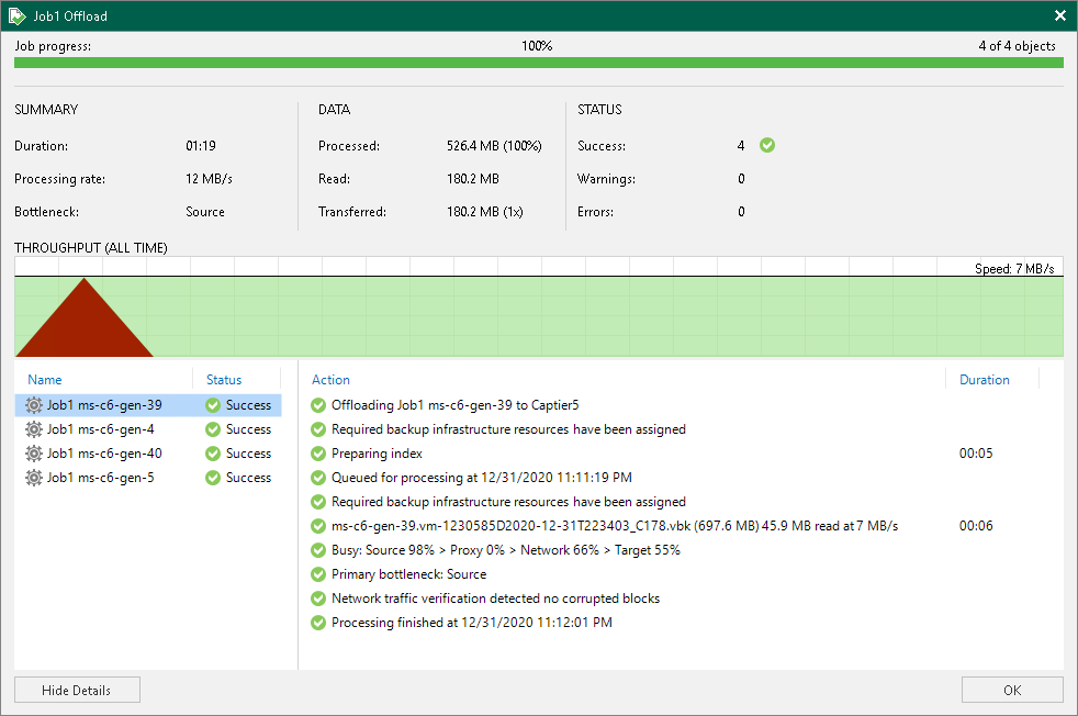 Viewing Offload Job Session Results - Veeam Backup Guide for