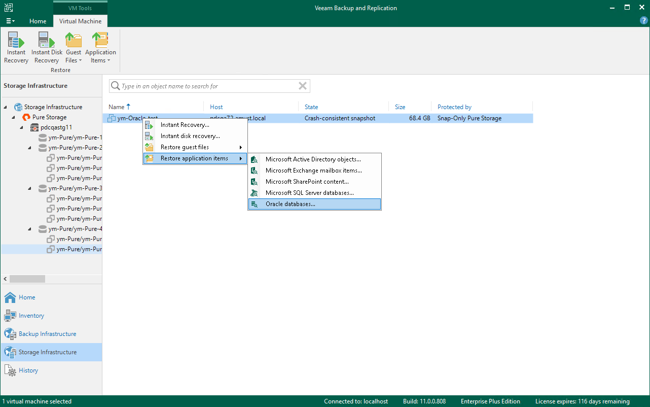 Step 1  Launch Oracle Database Restore Wizard - Veeam Backup