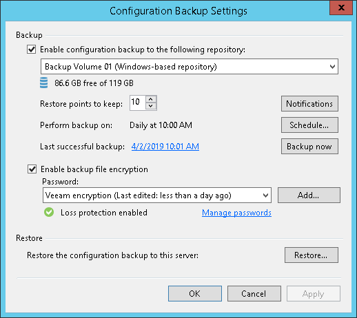 Running Configuration Backups Manually - Veeam Backup Guide