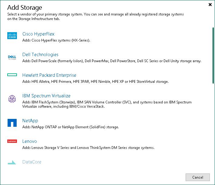 Step 1  Launch New Dell EMC Storage Wizard - Veeam Backup