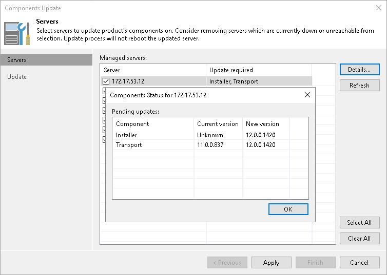 Server Components Upgrade - Veeam Backup Guide for vSphere