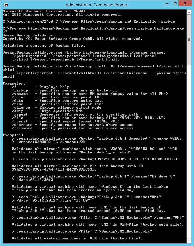 Working with Veeam Backup Validator