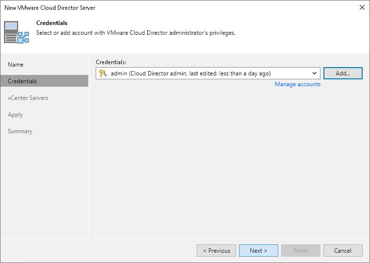 Step 3  Specify VMware vCloud Director Credentials - Veeam