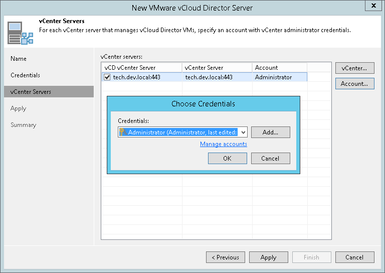 Step 4  Specify Credentials for Underlying vCenter Servers
