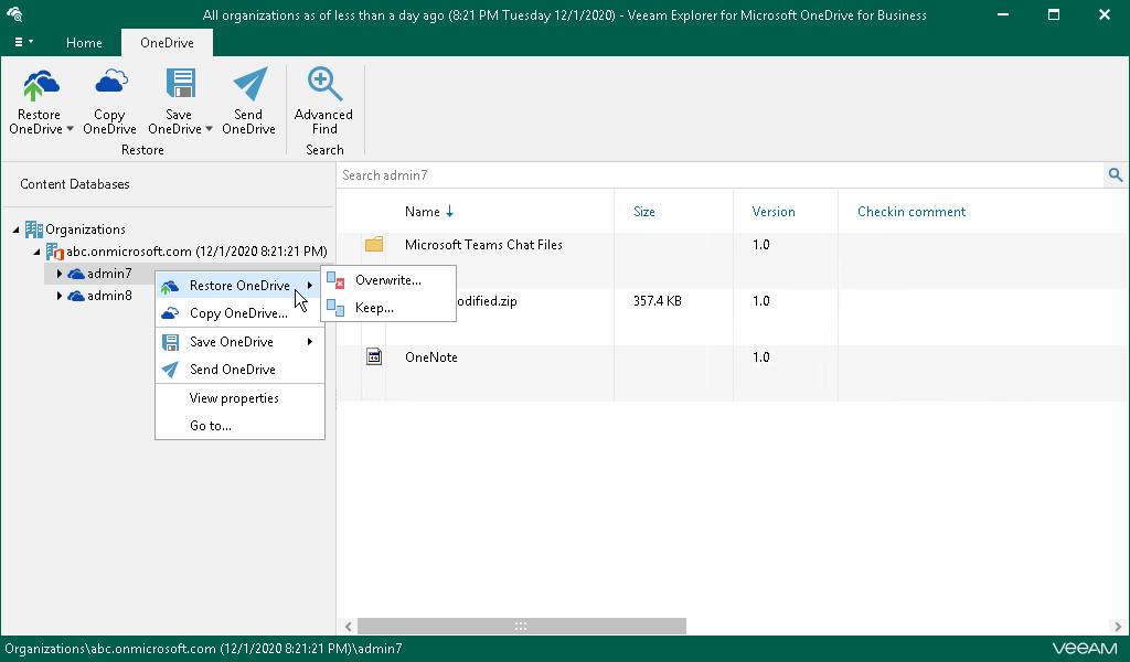 Using Veeam Explorer for Microsoft OneDrive for Business